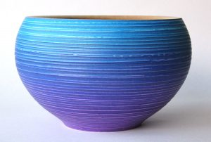 Textured and coloured bowl in purple and blue by Paul Hannaby Creative Woodturner
